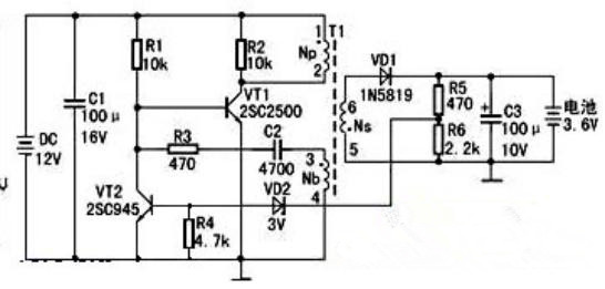三极管vt1为开关电源管,它和t1,r1,r3,c2等组成自激式振荡电路