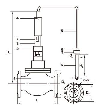 自力式温度调节阀工作原理及安装示意图