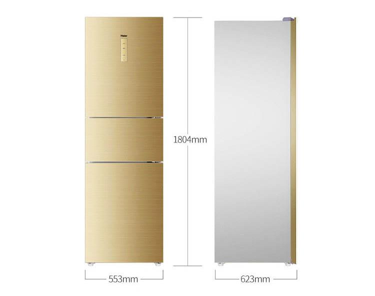 海尔 三门变频风冷无霜冰箱,bcd-225wdgk,彩晶面板