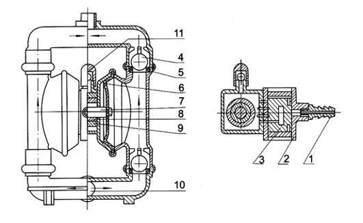 塑料气动隔膜泵结构图
