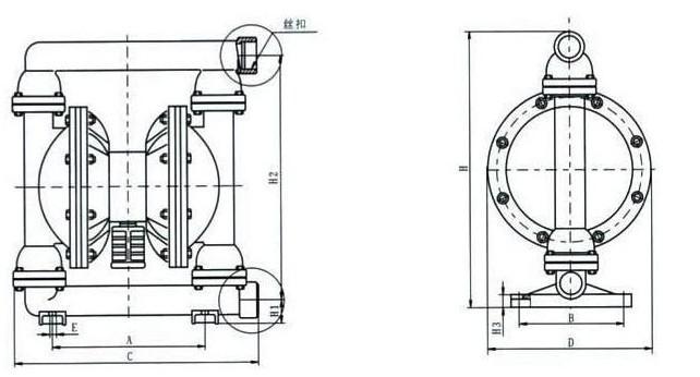 塑料气动隔膜泵安装尺寸